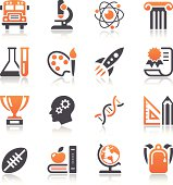 Set of 16 Education and Science Icons. Vector easy to resize and recolor. All objects is layered.