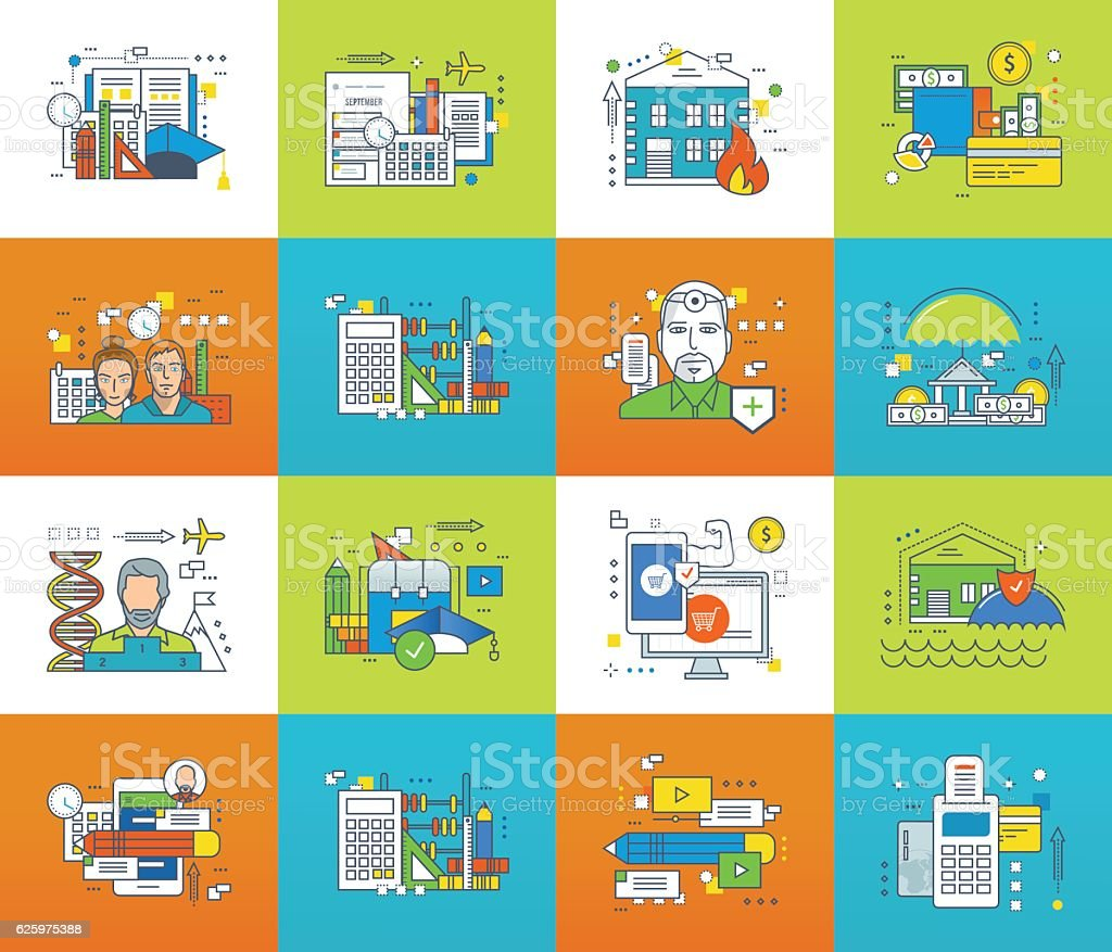 Education, science, planning, management, insurance, communications, business, finance, shopping, teamwork. - Illustration vectorielle