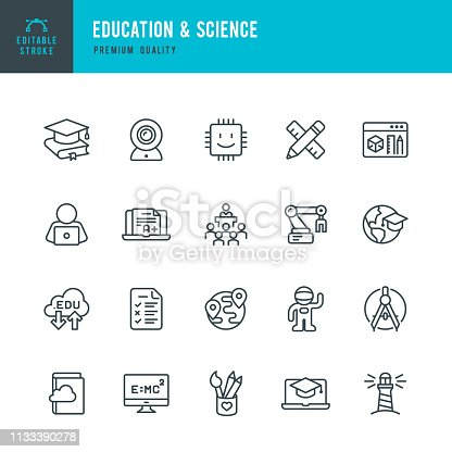 Set of 20 Education & Science line vector icons