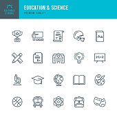 Education & Science - set of thin line vector icons