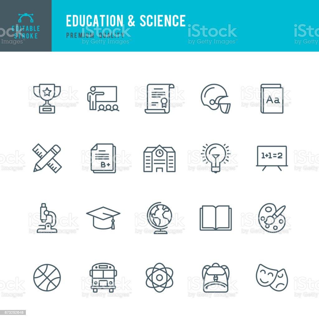 Educação e ciência - conjunto de ícones do vetor linha fina - ilustração de arte em vetor