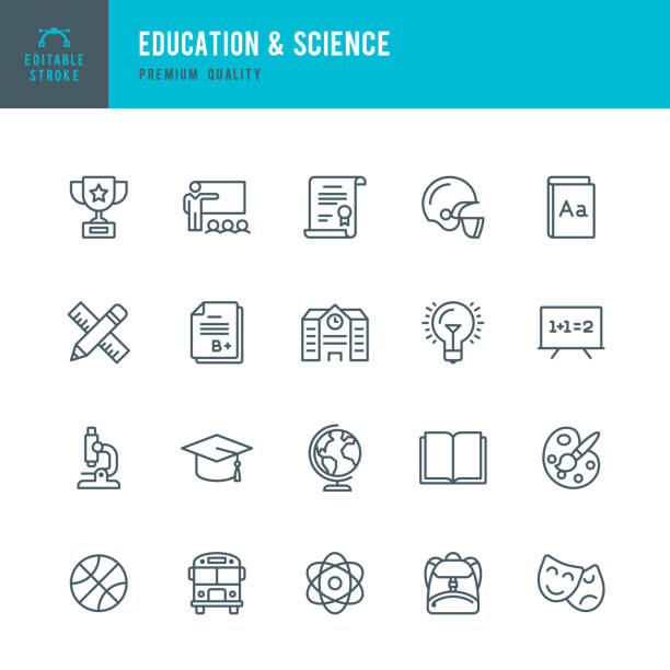 education & science - set of thin line vector icons - science class stock illustrations, clip art, cartoons, & icons