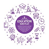 Vector line illustration of education and learning services.