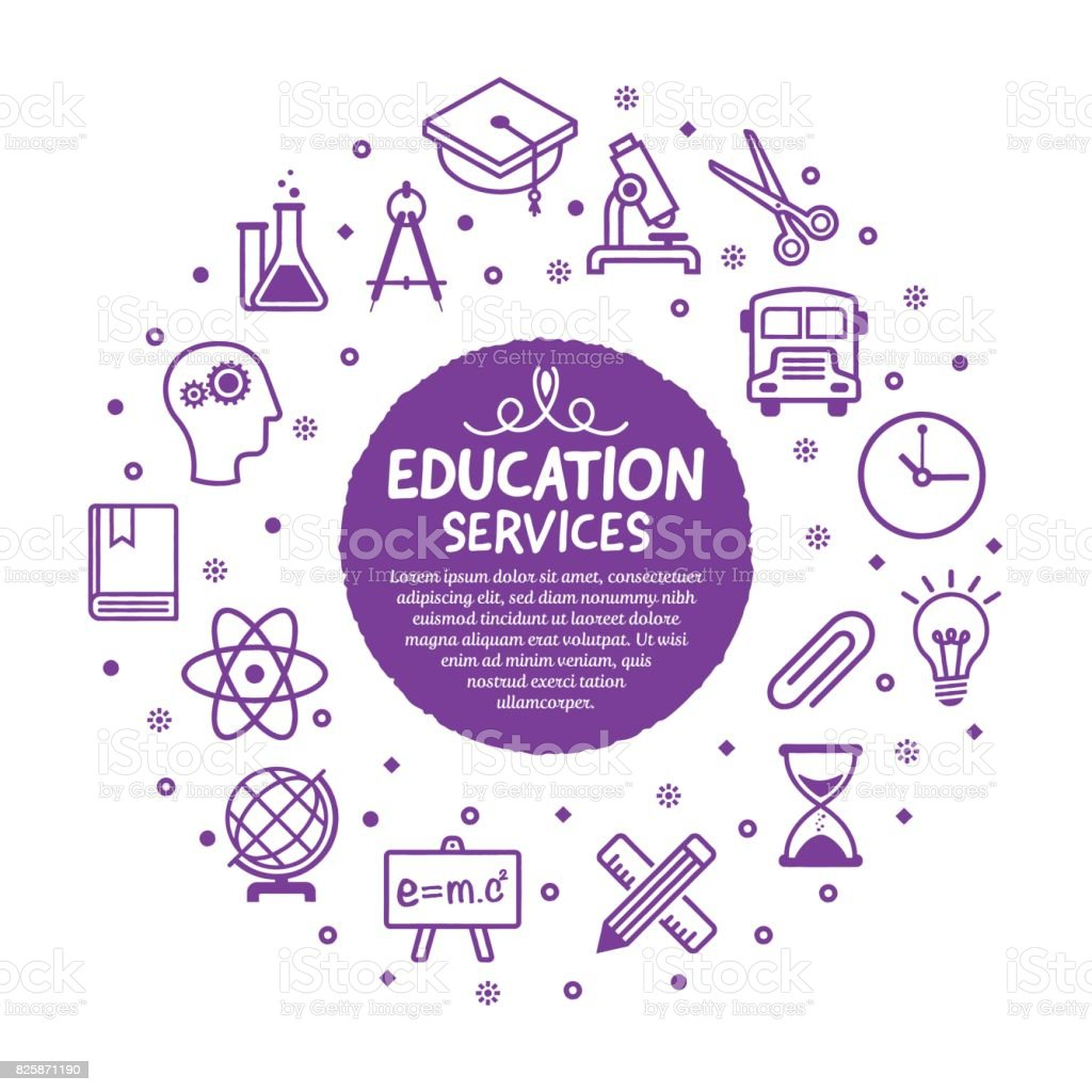 Education Services Poster vector art illustration