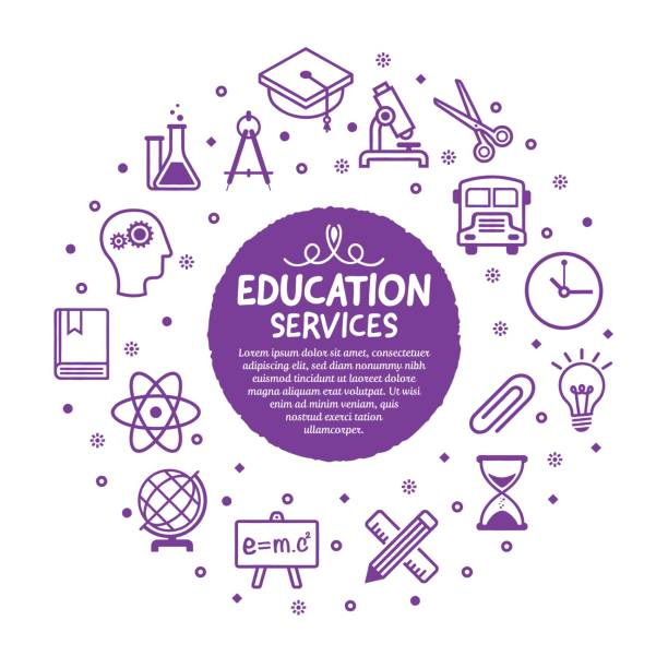 education services poster - science class stock illustrations, clip art, cartoons, & icons