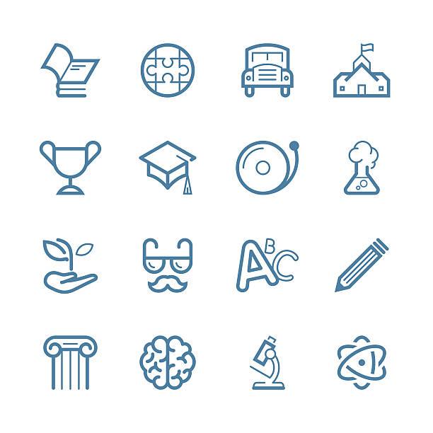 bildung/linie-icon serie-set - buchstabenschreibweise stock-grafiken, -clipart, -cartoons und -symbole