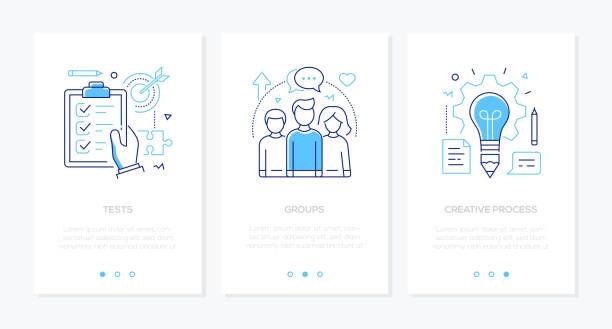 illustrazioni stock, clip art, cartoni animati e icone di tendenza di education - set of line design style vertical web banners - esame università