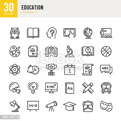 Education set of thin line vector icons.