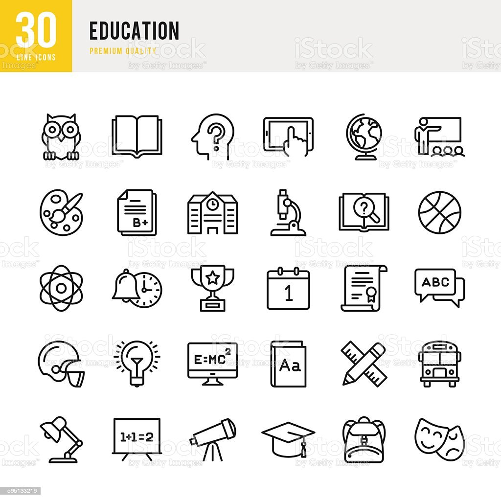 Education - set of thin line vector icons vector art illustration