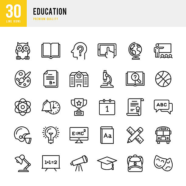 ilustraciones, imágenes clip art, dibujos animados e iconos de stock de education - set of thin line vector icons - autobuses escolares