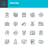 Set of Education thin line vector icons