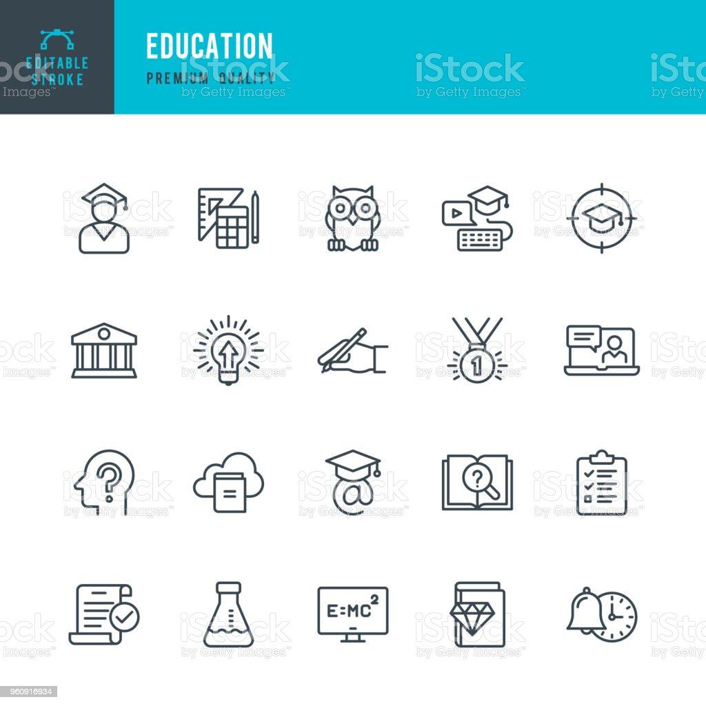 Educación - conjunto de iconos de vector línea - ilustración de arte vectorial