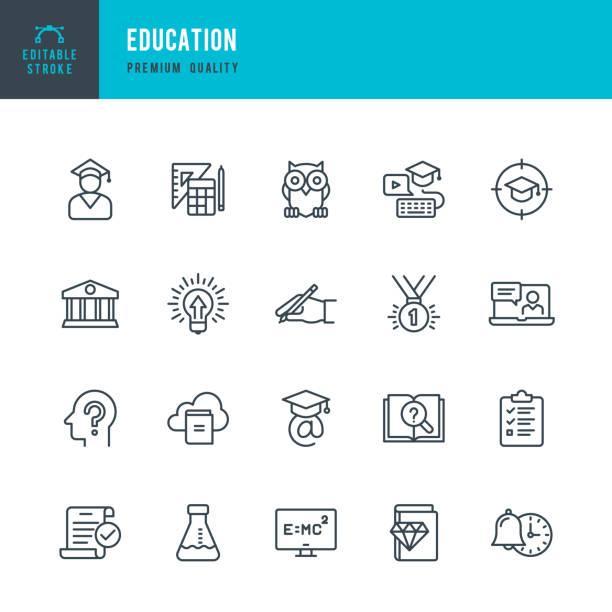 Bildung - Vektor-Linie-Icons set – Vektorgrafik