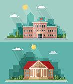 Education set. University and school, high school. Flat style vector illustration