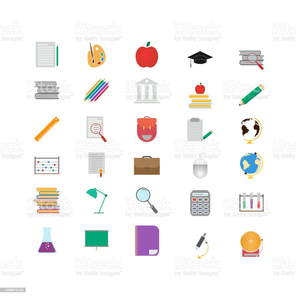 Education Set Vector Icon For App And Website Training Symbols Stock