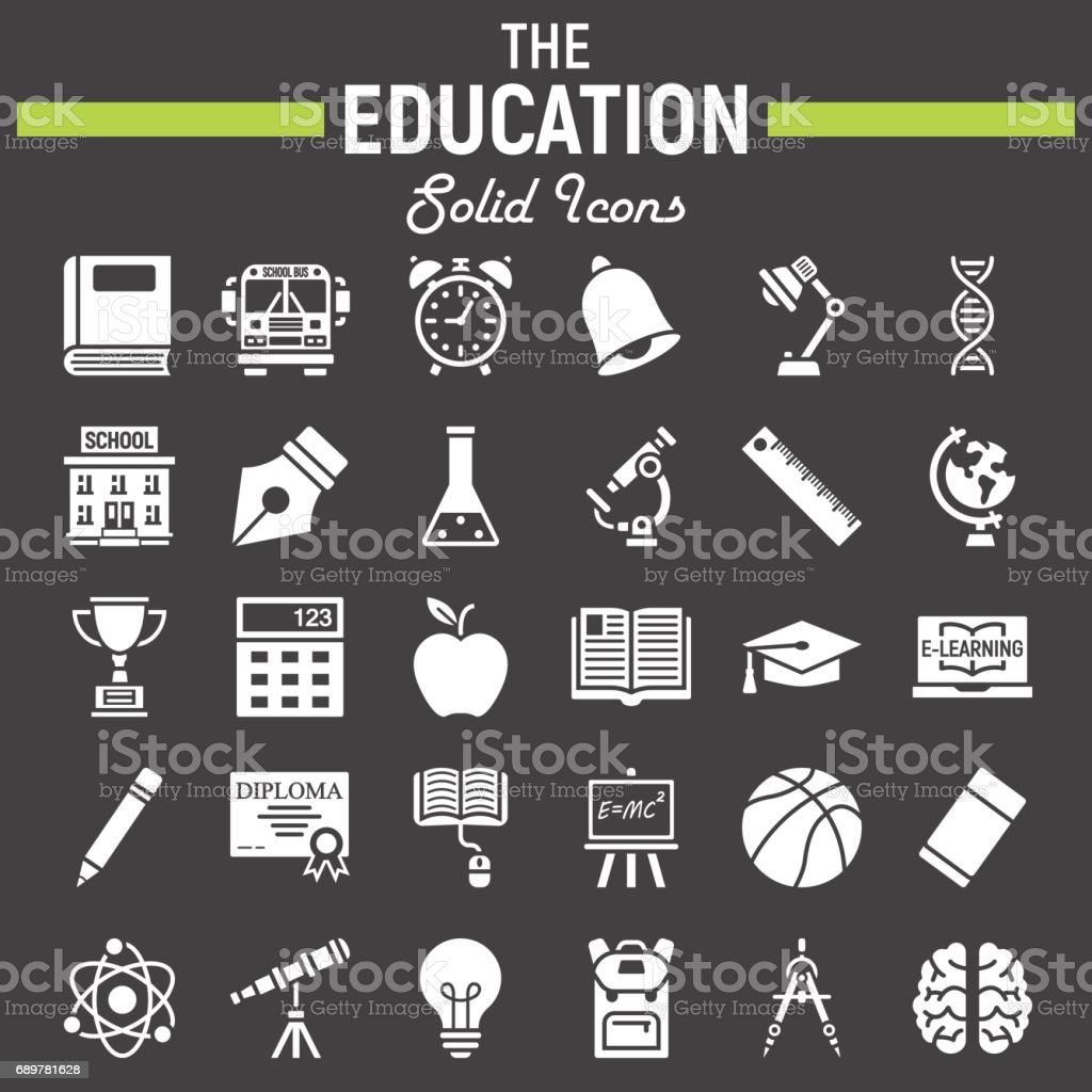 Education solid icon set school symbols collection knowledge education solid icon set school symbols collection knowledge vector sketches icon illustrations biocorpaavc Image collections