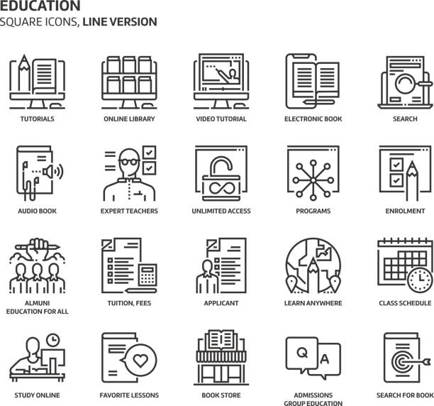 Education, square icon set. Education, square icon set. The illustrations are a vector, editable stroke, thirty-two by thirty-two matrix grid, pixel perfect files. Crafted with precision and eye for quality. enrollment stock illustrations