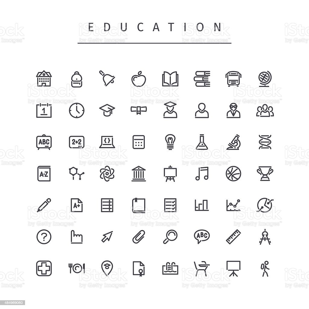 Education Stroke Icons Set vector art illustration