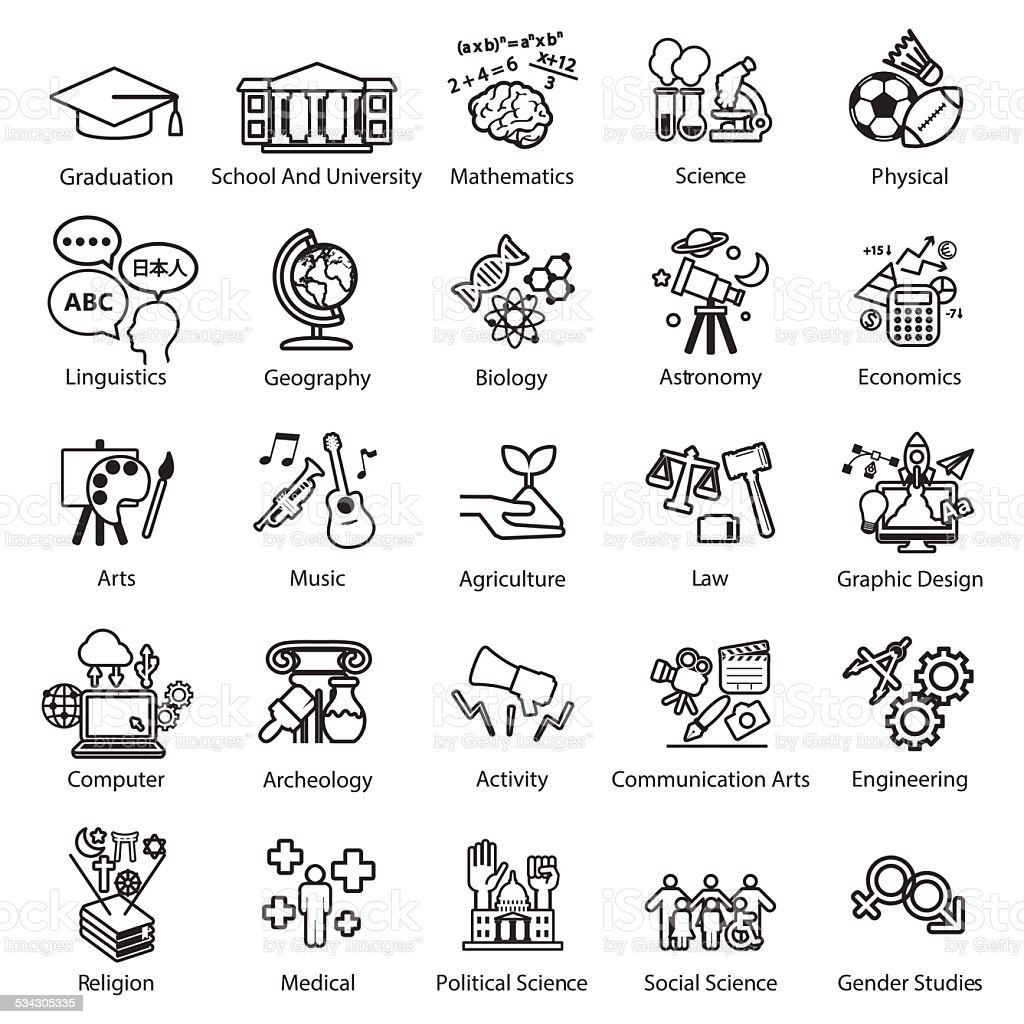 Education Study icons set vector art illustration