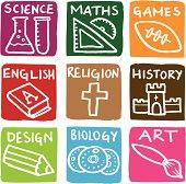 Education subject block icons icon set