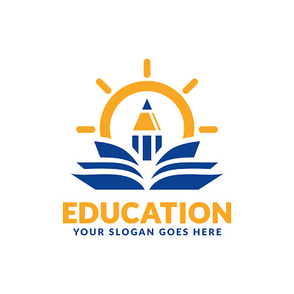 Education symbol design template, pencil and book icon stylized