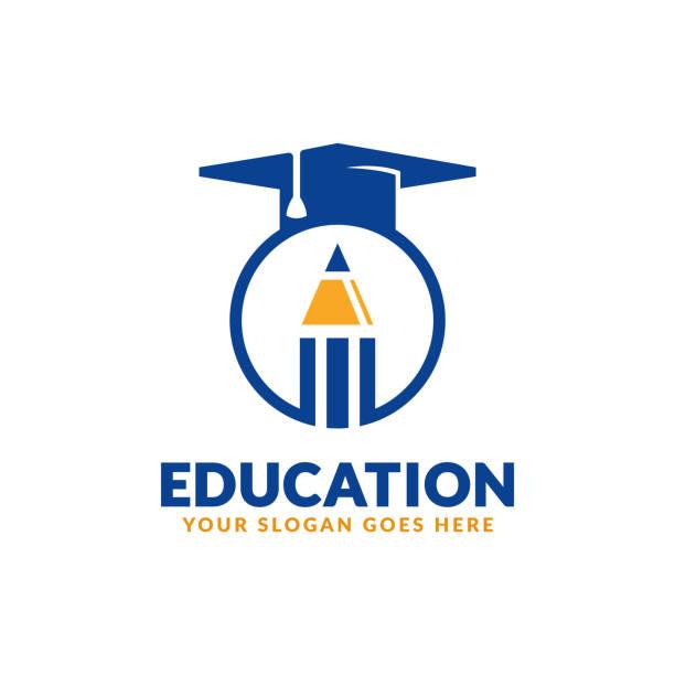 eğitim sembolü tasarım şablonu, kalem ve mezuniyet kapağı simgesi stilize - university stock illustrations