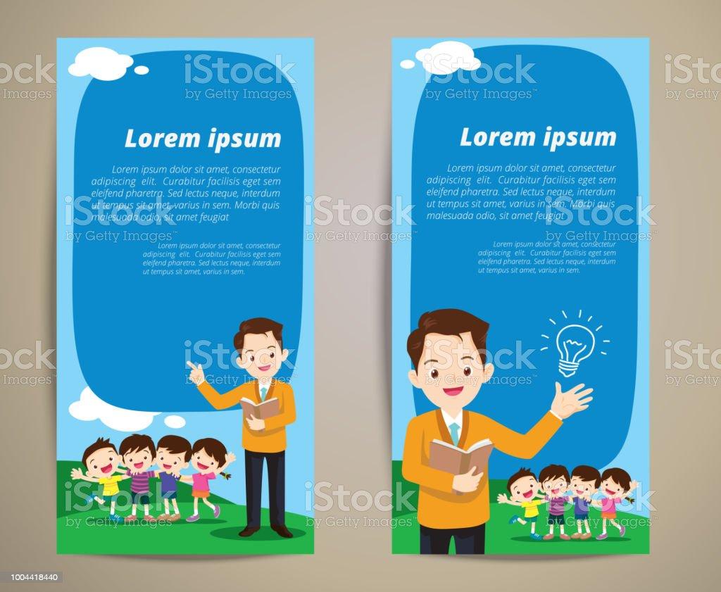 Education Teacher Children Banner Background Stock Illustration Download Image Now Istock