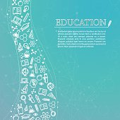 Education theme background with icons and text