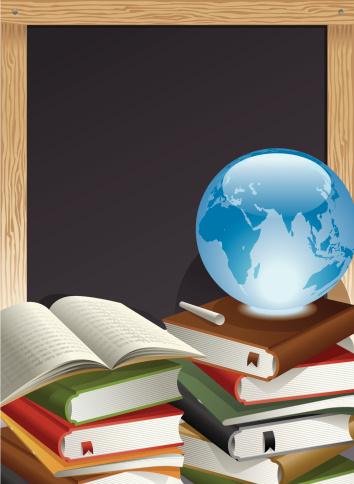 Education Theme, Books, Globe, Chalk and Blackboard Vector