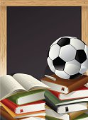 Stack of Books, opened and closed, with a chalk and a Soccer Ball in front of a Blackboard. Education theme, Back to School concept stock illustration. Vector-Based Illustration, No gradient mesh and 3D program used. Download Includes: High Resolution JPG, Illustrator EPS & AI. Please check out more of my stock illustrations and photos at: http://www.istockphoto.com/portfolio/phi2