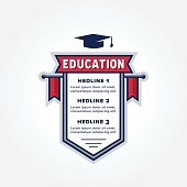 Education Themed Infographic Badge Design for creating Study Plan, Schedule, Table, List, Timetable, Agenda, Chart or whatever data representation