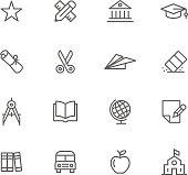 Education themed thin-line icon set