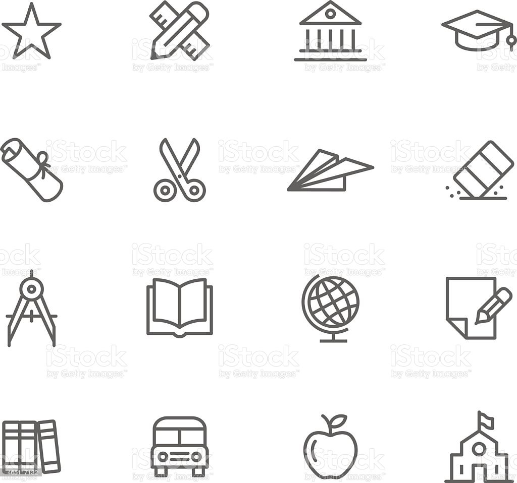 Education themed thin-line icon set vector art illustration