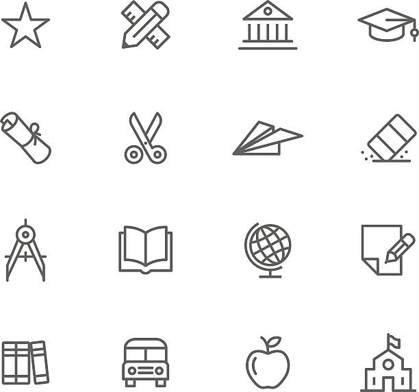 Education themed thin-line icon set Icon Set, Education things on white background, made in adobe Illustrator (vector) schoolhouse stock illustrations