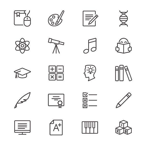 Bildung dünne Symbole – Vektorgrafik
