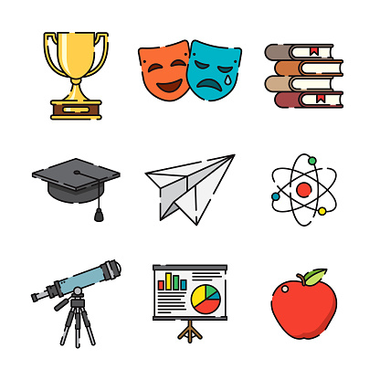 Education Thin Line Icon Set clipart