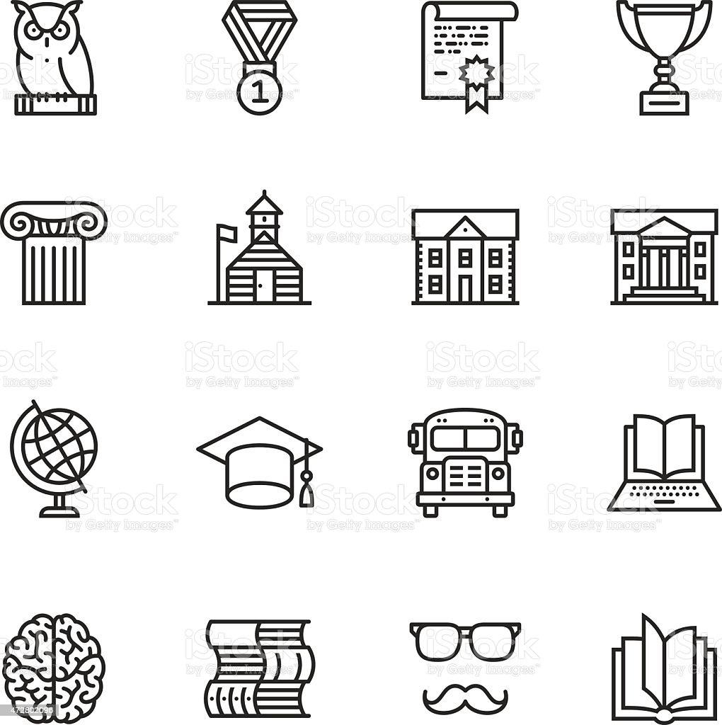 Educación iconos de línea fina - ilustración de arte vectorial