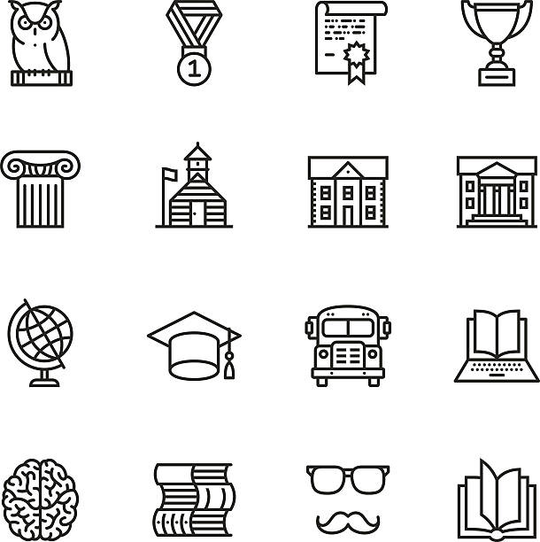 Education Thin Line icons Vector thin line icons set. One icon consists of a single object. Files included: Vector EPS 10, HD JPEG 3000 x 3000 px, AI CC (17) schoolhouse stock illustrations