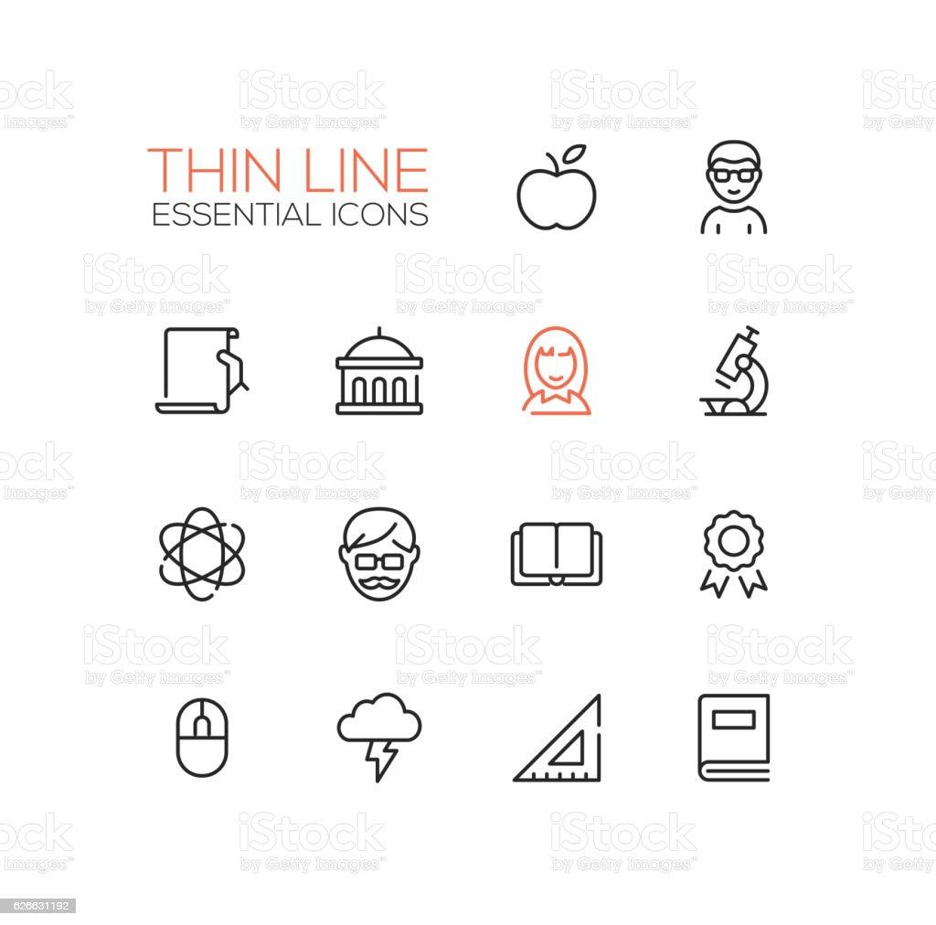 Education - Thin Single Line Icons Set vector art illustration
