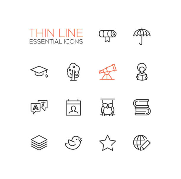 education - thin single line icons set - astronomy telescope stock illustrations