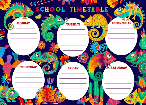 Education timetable schedule with chameleon, cacti
