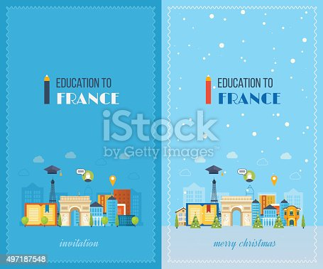 istock Education to France. Merry Christmas greeting card design 497187548