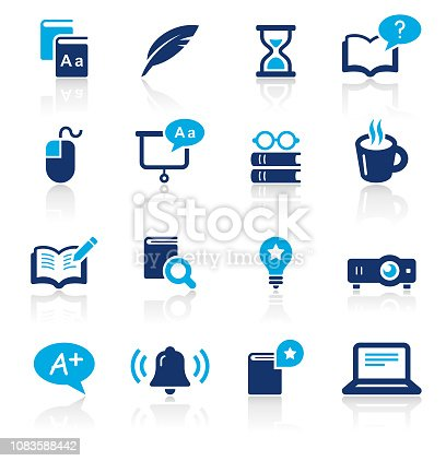 An illustration of education two color icons set for your web page, presentation, apps and design products. Vector format can be fully scalable & editable.