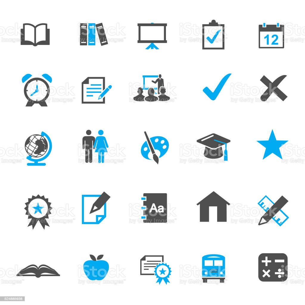 Education vector Icon Set vector art illustration