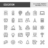 30 thin line icons associated with school and education with symbols such as stationery, school activities, and laboratory equipment are included in this set. 48x48 pixel perfect vector icon with editable stroke.