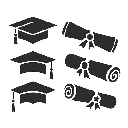 Education vector icons, academic hat and graduation diploma