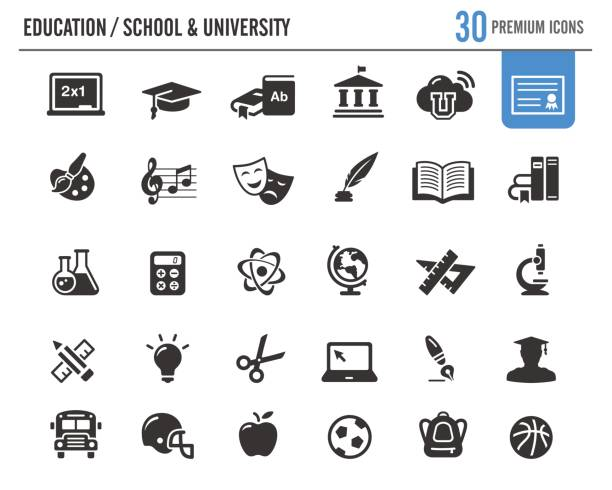 education vector icons // premium series - university stock illustrations, clip art, cartoons, & icons