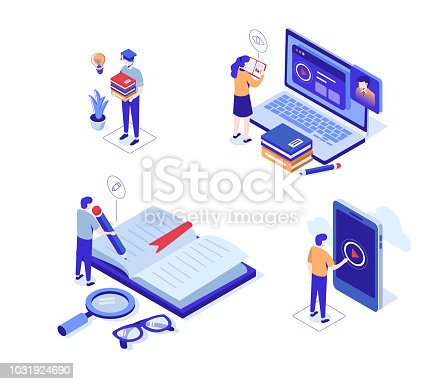 Online distance education characters set. Can use for web banner, infographics, hero images. Flat isometric vector illustration isolated on white background.
