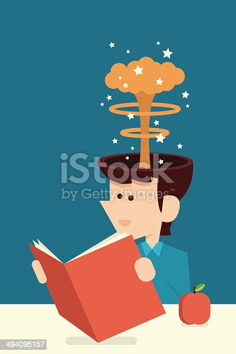 education concept with man reading a book flat design cartoon, vector