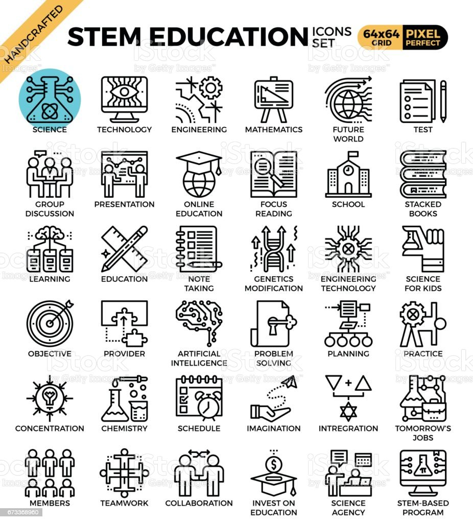 STEM (science,technology,engineering,math) education vector art illustration